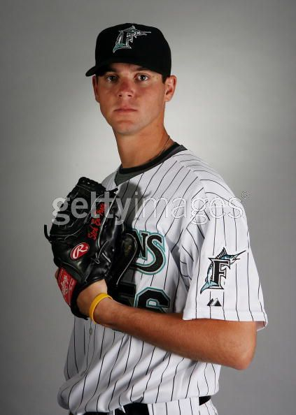 VandenHurk on Marlins Photo Day. He's the tallest guy on the team: I think they told him to slouch.